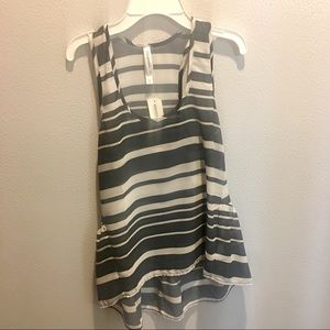 Black and White Striped Sheer Top